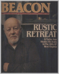 Beacon Journal cover showing Rose next to the article's title Rustic Retreat